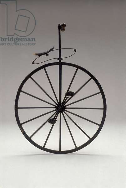 Monocycle with wooden wheels from 1870