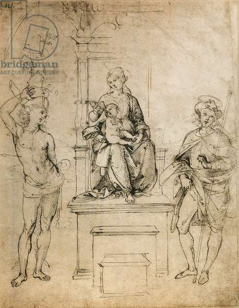 The Virgin, the Baby Jesus, St. Sebastian and St. Rocco; drawing by Raphael. The Louvre, Paris
