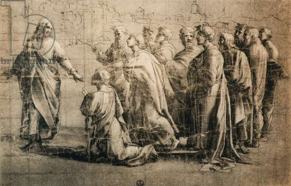 Christ Giving the Keys to Saint Peter; drawing from the School of Raphael. Gabinetto dei Disegni e delle Stampe, Uffizi, Florence