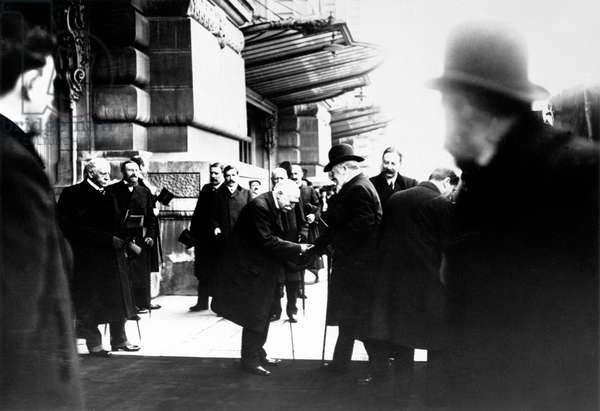 Georges Clemenceau greeting Edward VII, king of England, Gare d'Orsay, Paris, 1908 (b/w photo)