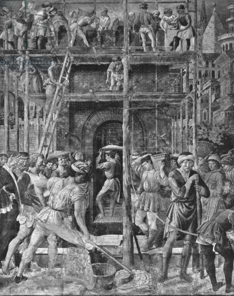 The Tower of Babel, 1468-84 (detail) (fresco) (see also 736756) (b/w photo)