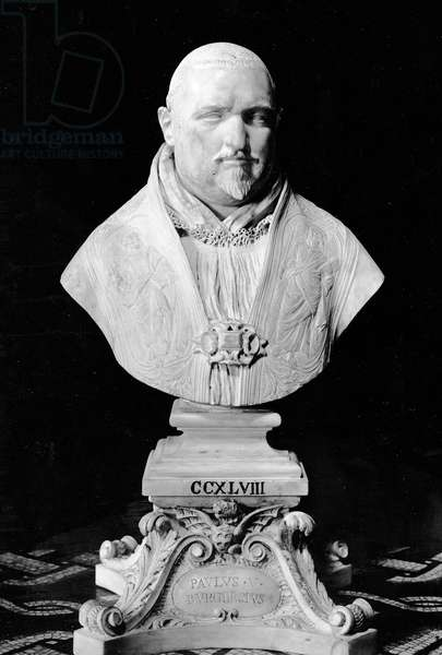 Portrait bust of Pope Paul V (1552-1621) (marble) (b/w photo)