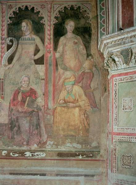 The Church Militant and Triumphant, in the Spanish Chapel, detail of Rhetoric, Cicero, Grammar and Aelius Donatus, 1366-68 (fresco) (detail of 123098)