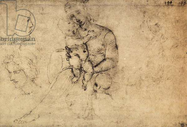 Study of Madonna and Child; drawing by Raphael. The Louvre, Paris
