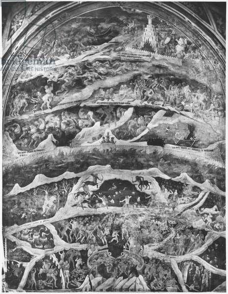 Hell, from 'The Divine Comedy' (Inferno) by Dante Alighieri (1265-1321) (fresco) (b/w photo)