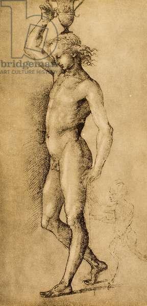 "Bacchus known as ""l'Idolino"", drawing by Raphael. Gabinetto dei Disegni e Stampe, Uffizi Gallery, Florence"
