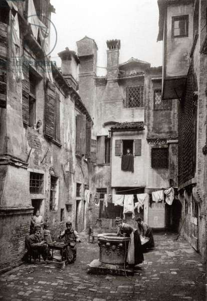 A Courtyard surrounded by buildings in Venice, c.1880 (b/w photo)