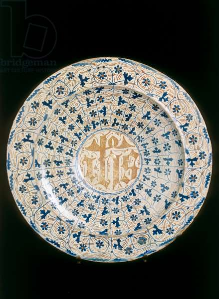 Plate with crystalized monogram, Valencia manufacture