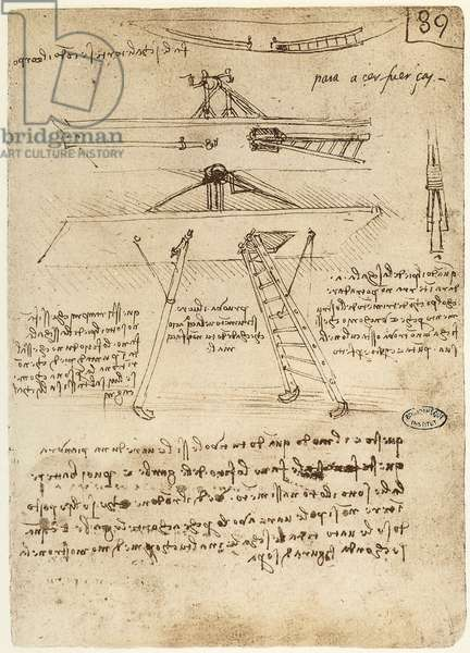 Ms B fol.89r Take-off and landing gear for a flying machine, 1487-90 (pen & ink on paper)