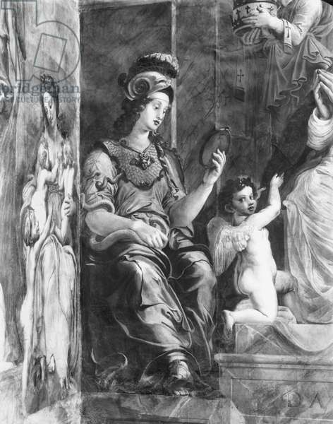 Prudence seated next to Pope Damasus I (c.304-384) Raphael Rooms (fresco) (detail) (b/w photo) (see also 252795 and 252797)