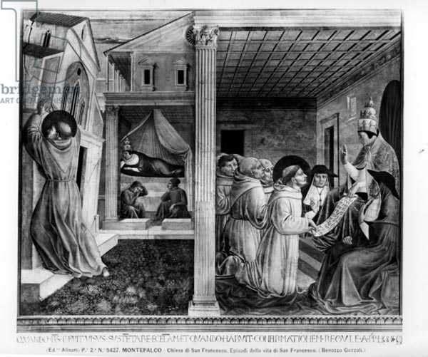Pope Innocent III Approving the Rule (fresco) (b/w photo)