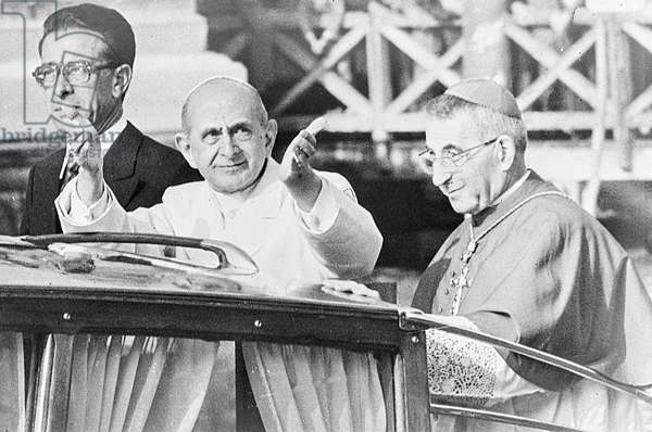 Pope Paul VI visiting Venice, with Albino Luciani, future Pope John Paul I, 1972 (b/w photo)