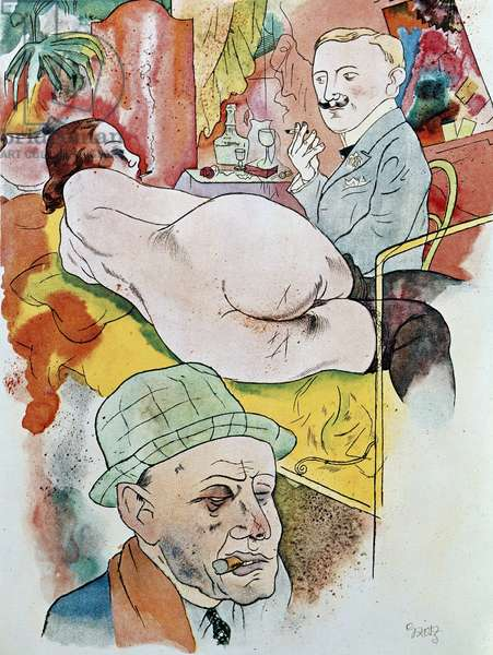 Ecce homo, part of the homonymous cycle, work by George Grosz. The painting is exhibited at the Nationalgaleri, Kupferstichkabinett, Berlin