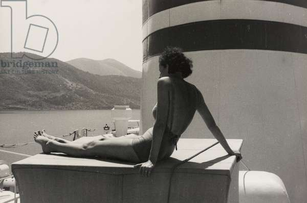 Woman on board the cruise ship 'Oceania', from the album 'At the Edge of Oceania 28th July to 10th August 1935', 1935 (silver gelatin print)