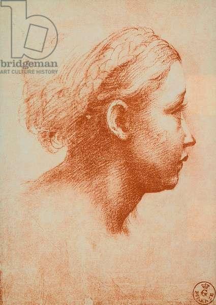 Female head in profile, drawing by Raphael. Gabinetto dei Disegni e delle Stampe, Uffizi, Florence