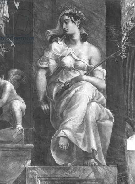 Peace seated next to Pope Damasus I (c.304-384) Raphael Rooms (fresco) (detail) (b/w photo) (see also 252795 and 252796)