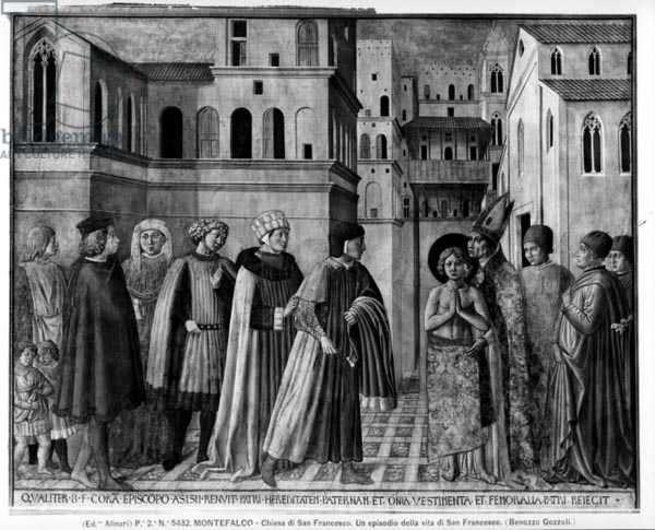 St. Francis Renouncing his Worldly Goods (fresco) (b/w photo)