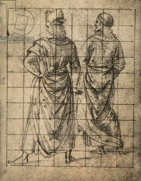 Two standing male figures, rear view; drawing by Raphael. Gallerie dell'Accademia, Venice