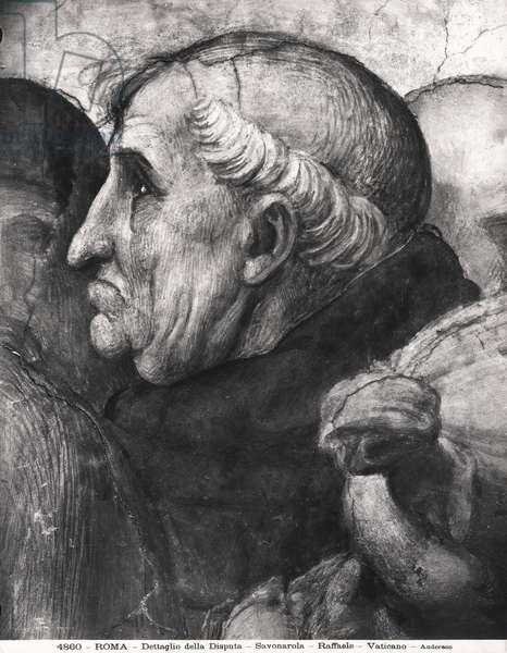 Portrait of Savonarola (1452-98) from La Disputa in the Stanza della Segnatura, 1508-11 (fresco)