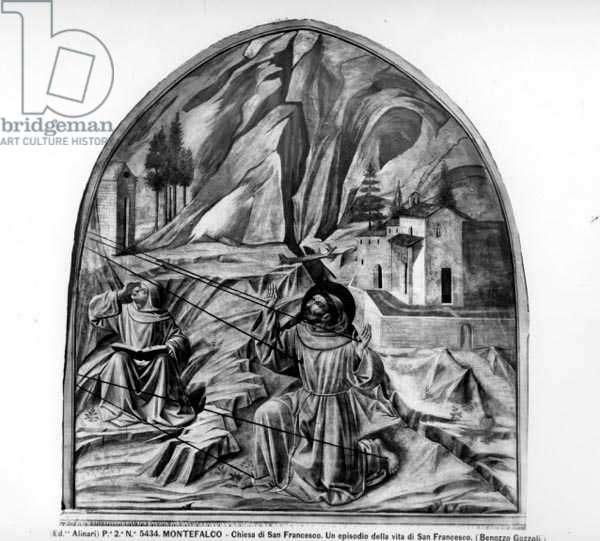 St. Francis Receiving the Stigmata (fresco) (b/w photo)