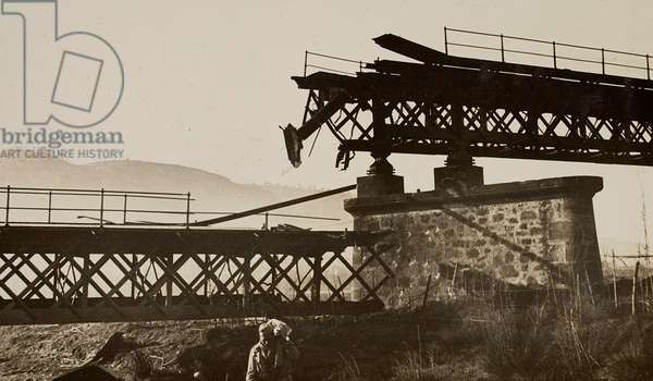 Bridge destroyed by the Spanish Civil War, in the Catalan town of Martorell (b/w photo)