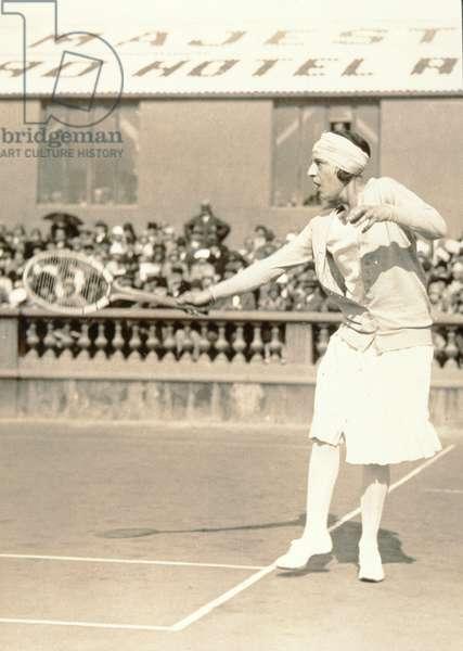 Suzanne Lenglen playing tennis, c.1926 (silver bromide gelatin print)