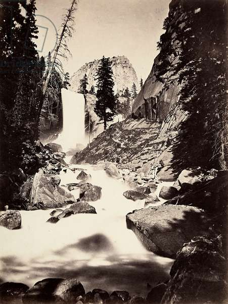 Landscape with waterfalls in the Yosemite Valley in the Sierra Nevada mountains.