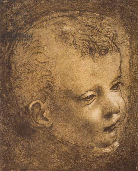 Study of the face of the infant St. John for the Madonna of the Rocks; drawing by Leonardo da Vinci. The Louvre, Paris