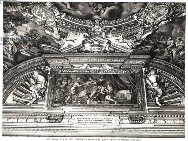 The 'Sala di Apollo' (Hall of Apollo) detail of ceiling decoration depicting Alexander reading Homer (fresco) (b/w photo)
