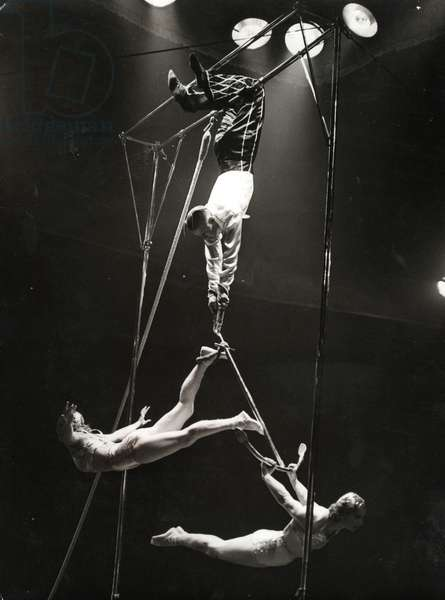 Acrobats at the circus (b/w photo)