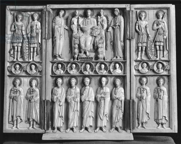 Triptych depicting Christ Enthroned with the Virgin, St. John the Baptist and other saints (ivory) (b/w photo) (see 213281)