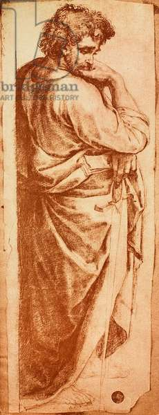 Study for the St. Paul of the altar-piece of Bologna; drawing by Raphael, Gallerie dell'Accademia, Venice