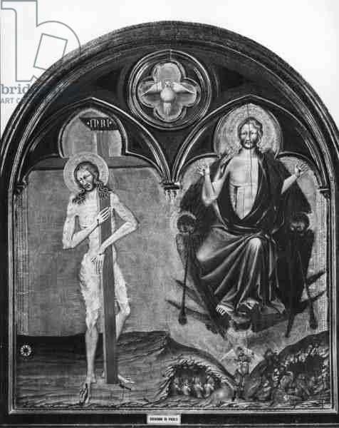 Christ Suffering and Christ Triumphant (tempera on panel) (b/w photo)