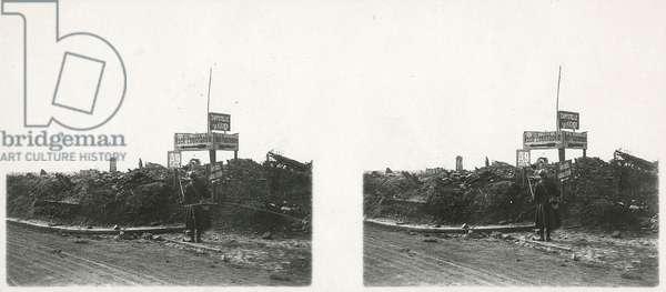 Signs in Moorslede, near Passchendaele during the First World War, Belgium, 29th September, 1918 (b/w photo)