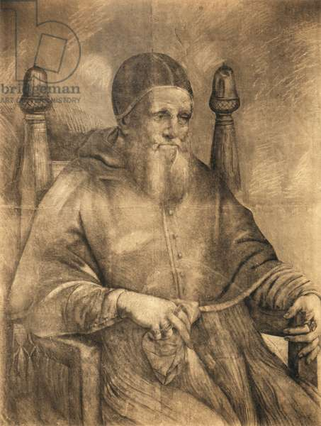 Study for the portrait of Pope Julius II, 1500-12 (charcoal on paper)