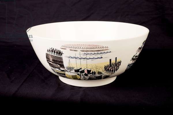 Piccadilly Circus on Boat Race Night Bowl, 1939 (transfer print & ceramic)