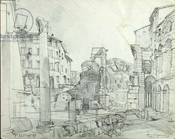Temple of Apollo, 1957 (pencil on paper)