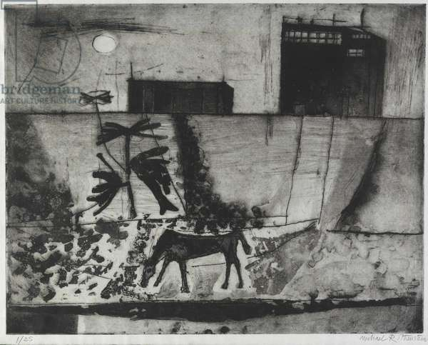 Horse & Moon / Horse & factory (etching)