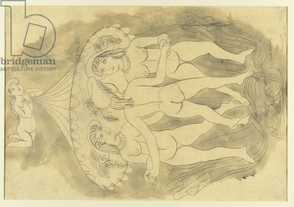 The Three Graces (pencil & w/c on paper)