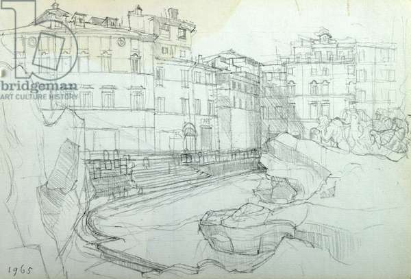 Piazza Trevi, 1965 (pencil on paper)