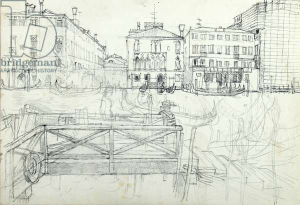 Tragetto by the Fish Market (pencil on paper)