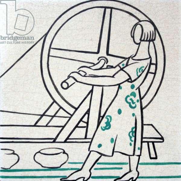 Wheel Girl (glazed ceramic)