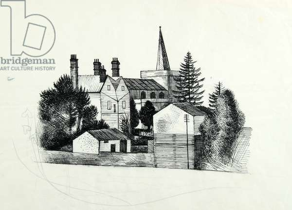 Great Bardfield Church (pen & ink on paper)