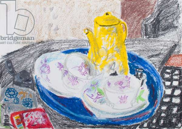 Yellow Coffee Pot and China Cups (pastel on paper)