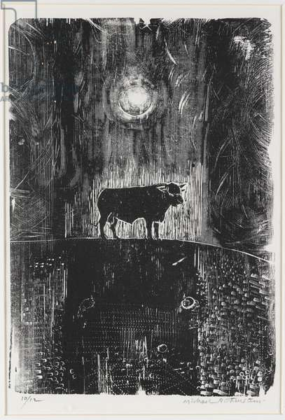 The Welcombe Bull (for Ted Hughes), 1974 (woodcut)
