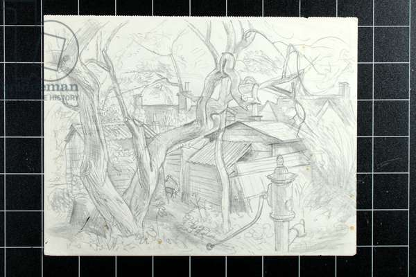 Pump and Twisted Tree Trunks (pencil on paper)