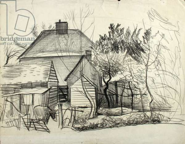 Farm Buildings (graphite on paper)