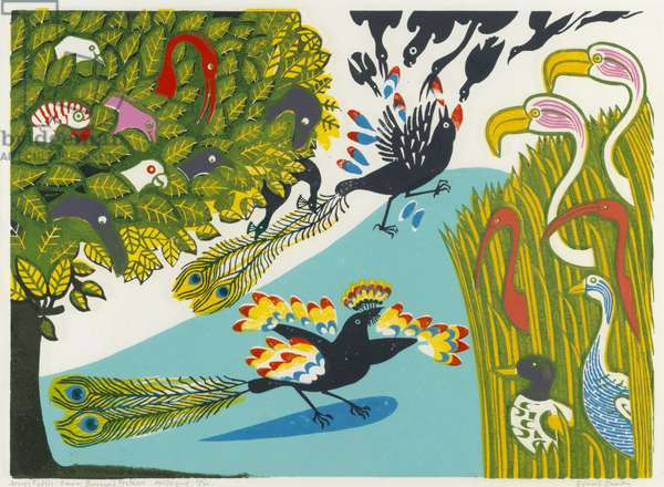 Daw in Borrowed Feathers, from Aesop's Fables, 1970 (linocut)