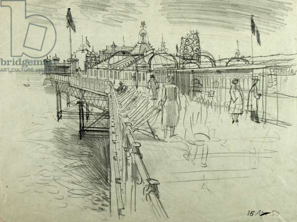 View of Pier, 16th April 1950 (pencil on paper)