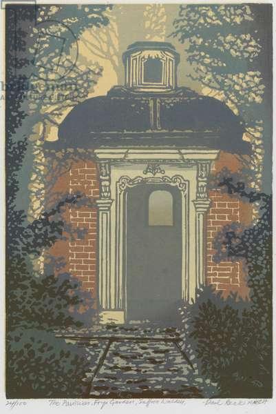 The Pavilion, Bridge End Garden (linocut)